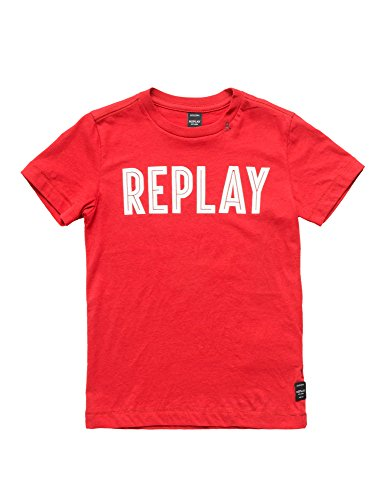 Replay Regular Fit Jersey Boy's T-Shirt In Red In Size 14 Years Red by Replay