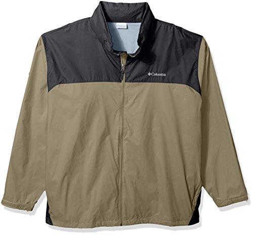 Columbia Men's Big and Tall Glennaker Lake Front-Zip Rain Jacket with Hideaway Hood, Tusk/Grill 6X