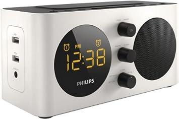 Philips AJ6000 - Radiodespertador (cargador para dispositivos con USB incorporado), blanco