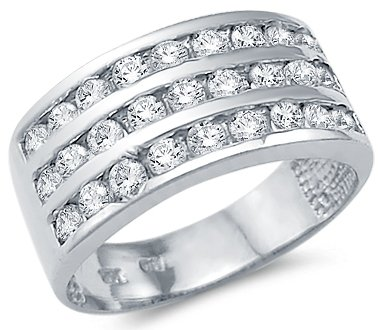 Amazon Com Solid 14k White Gold Ladies Cz Cubic Zirconia