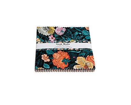 [해외]연결 스레드 프리미엄 컬렉션 프리컷 퀼팅 패브릭 번들 / Connecting Threads Print Collection Precut Quilting Fabric Bundle 5 Charm Squares (Cascade Meadow)