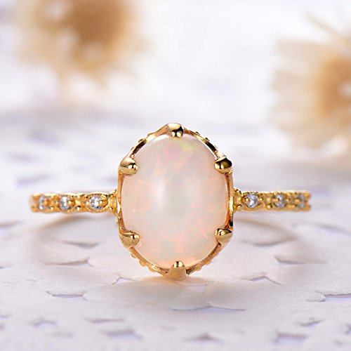 Oval Cut Opal Engagement Ring 925 Sterling Silver Yellow Gold Plated Solitaire CZ Diamond Promise Gift by Milejewel Opal Engagement Ring (Image #1)