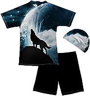 ELEQIN Boys Rash Guard Swimsuits Short Sleeve Kids Sunsuit Swimwear Sets with Swimming Cap