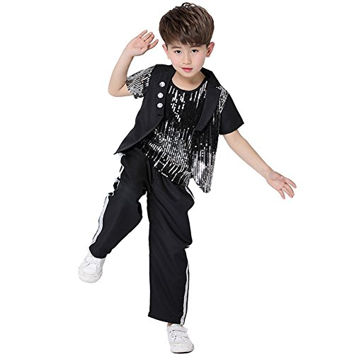 Dreamowl Children Jazz Dance Costumes Hip Hop Party Ballroom Street Dancewear Outfits (7-8) by Dreamowl