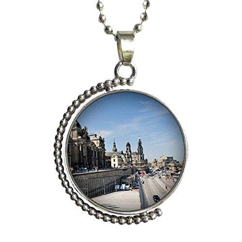 Market Square Glass Pendant (Travel view market square in Bremen Germany Glass Cabochon Pendant)