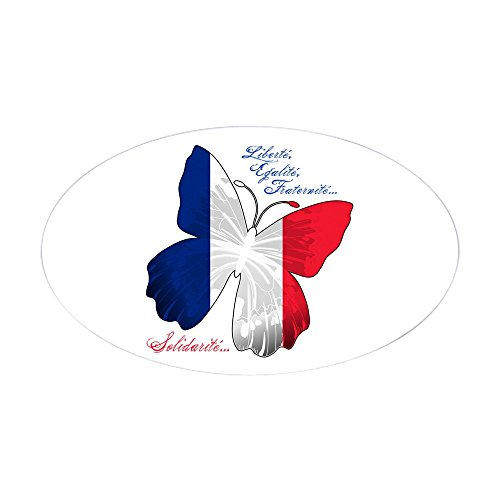 (Sticker (Oval) French Flag Butterfly Solidarite)