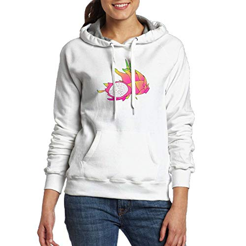 Lamont Rhea Women's Cartoon Dragonfruit Fashion Long Sleeve Sweatshirt Pullover Hoodies with Pocket White L