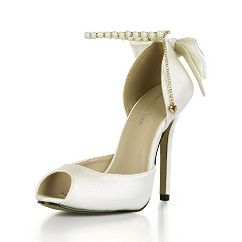 Best 4U? Women's Summer Sandals Comfortable Faux Silk Basic Pumps Peep toe Bow Pear Chain 12CM High Heels Rubber Sole Wedding Shoes White XBQfb1hE