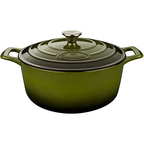 La Cuisine PRO 2.2 Qt Enameled Cast Iron Round Covered Dutch Oven, Green