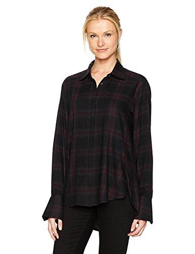 政治家肉腫葉を拾うPaige Women's Clemence Shirt True Black / Black Cherry S [並行輸入品]