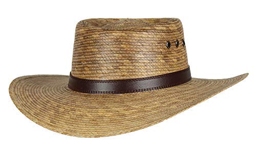 (Mexican Gambler Palm Leaf Straw Vented Sun Hat, Alamo Sombrero Cowboy)