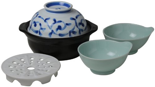 Easy-2P set 802 761 Nishinihontoki universal earthenware pot (arabesque) and flew down (japan import) by Nishinihontoki