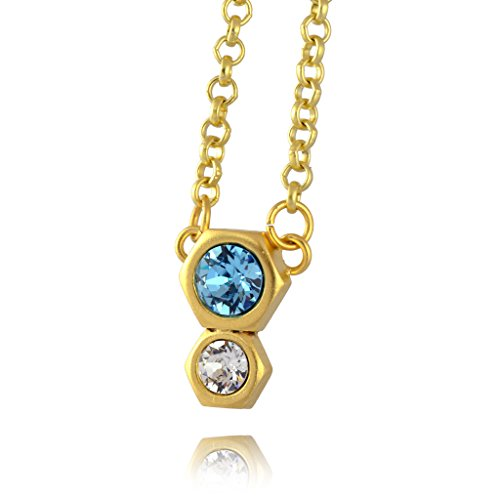 Nara 2 Hexagon Necklace, Gold Plated Modern Honeycomb Bolt on Pendant with Blue Crystal