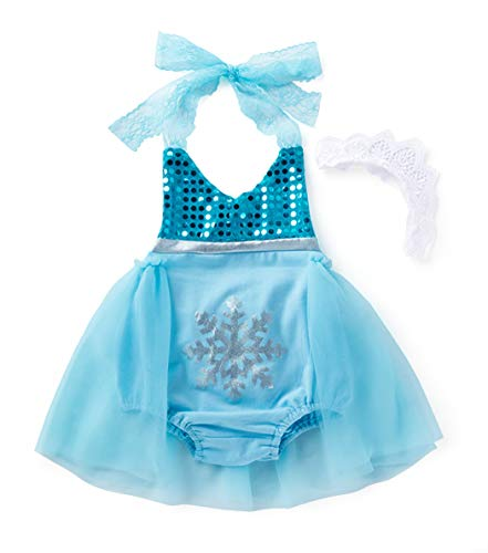 Cotrio Elsa Princess Costume Baby Girls Romper Dress