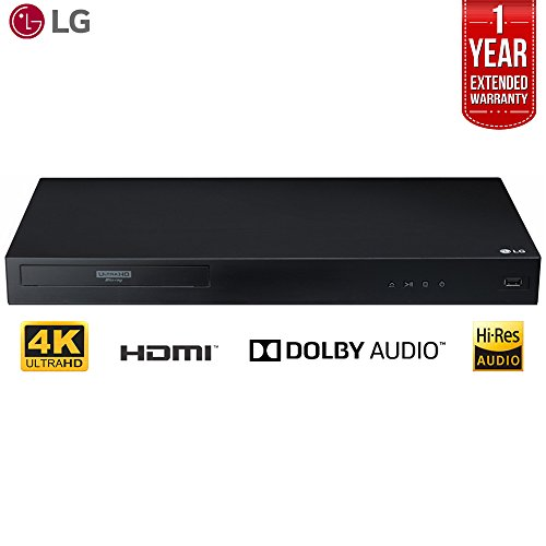LG UBK80 4k Ultra-HD Blu-Ray Player w/ HDR Compatibility + 1 Year Extended Warranty