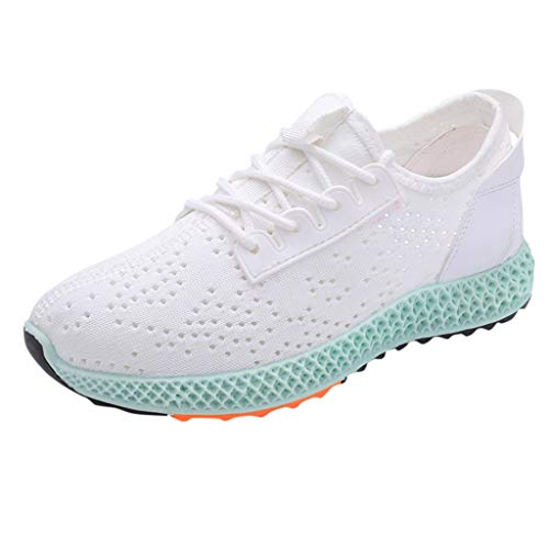 Ballad Women's Mixedcolor Lightweight Running Shoes Round Toe Lace Up Casual Sport Shoes Sneakers White