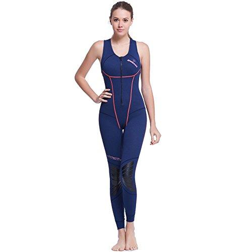 A Point 1.5MM SCR Sleeveless Vest Pants Zipper Piece Wetsuit Surf Swim Snorkel Sailboard Suit (women's blue, - Sleeveless Wetsuit