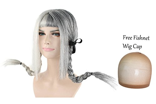 Pippi Longstockings Costume (Double Pigtail Wig with Braids Grey Wigs w/ Bangs Hair for Cosplay Costume Halloween Party)