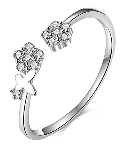 Chariot Trading - 925 Sterling Silver Jewelry Crystal Flower Open Rings