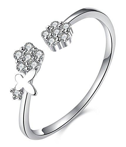 CC-JJ - 925 Sterling Silver Jewelry Crystal Flower Open Rings ()