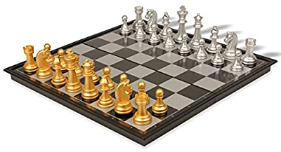 The Chess Store Gold & Silver Folding Magnetic Travel Chess Set - 12.5""