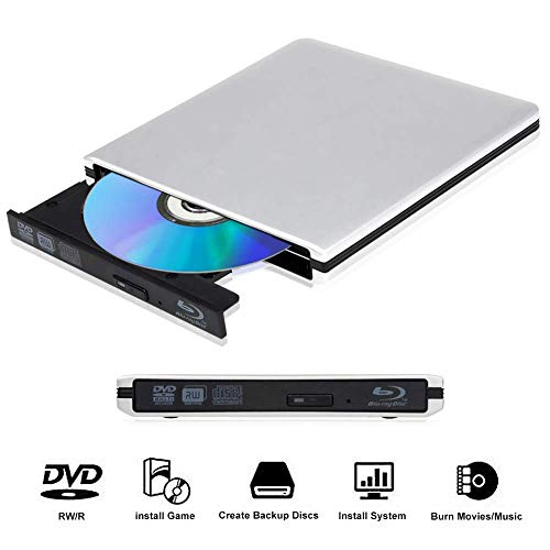 External Blu Ray CD DVD Drive 3D 4K, Portable USB 3.0 Bluray CD/DVD Burner Player Compatible for Windows10/7/8, Laptop, Mac os, PC (Silver)