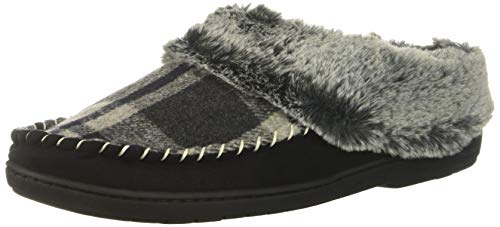 Dearfoams Women's Microsuede Moc Toe Clog Slipper, Black Plaid, S Regular US ()