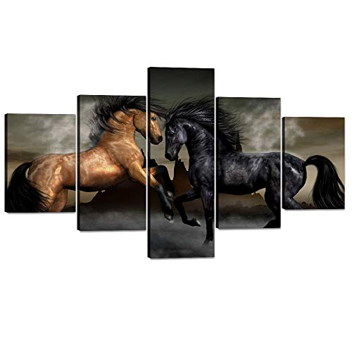 Horse Artwork - Yatsen Bridge Extra Large Canvas Painting for Living Room Wall Art Prints Horses Paintings Pictures Artwork for Living Room Office Bedroom Wall Decorations Stretched and Framed(70''W x 40''H)