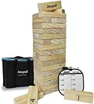 Juegoal 54 Piece Giant Tumble Tower, Wooden Toppling Tower Block Game with Gameboard, Canvas Bag for Outdoor Y