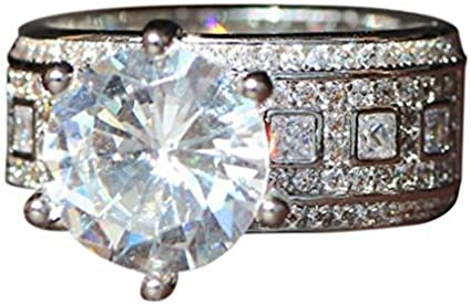 Round Cubic Zirconia Ring Haluoo Sterling Silver 6-Prong Solitaire Bridal Ring Brilliant CZ Diamond Engagement Wedding Ring Halo Eternity Band Chic Promise Ring for Women Men Size 6-10