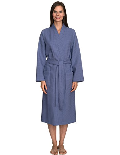 - TowelSelections Turkish Bathrobe Waffle Kimono Robe for Women and Men X-Small/Small Bleached Denim