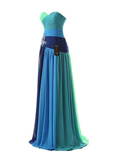 jydress Mujer de vestido de fiesta corazones cuentas plisado sin mangas gasa Formal o fiesta albornoz 2016para novia Rosso