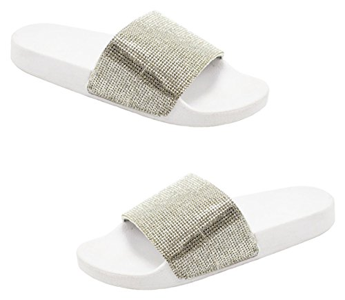 Flop 2018 Wide TravelNut for Flip Band Women Colors Lauren White Bling Sale School Sandals Back Assorted Bling Slippers to Furry amp; Faux Ic0wq0gS