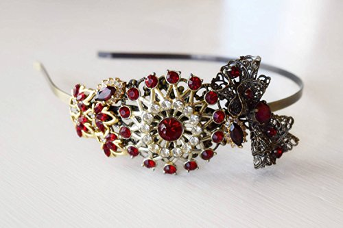Garnet Red Headband - Bridal Headband - Red and Gold Headband - Vintage Jewelry Collection Headband - Bridal Bow - Antique Headband - Wedding by The Pearled Rose