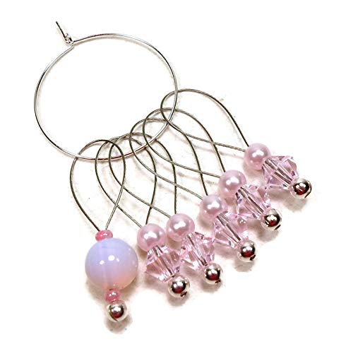 (Pale Pink Handmade Beaded Stitch Markers Knitting)