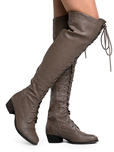 Breckelles Donna Alabama-12 Stivali Alti Al Ginocchio Beige-alabama12