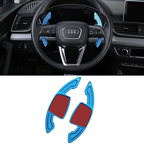 For Audi Paddle Shifter Extensions, Aluminum Metal Steering Wheel Paddle Shifter(Fits:Audi A3 A4 Q7 S3 2017-2019, A5 Q5 S4 S5 SQ5 2018-2019, Q8 2019, TT TTS 2016-2019)(Blue) ()