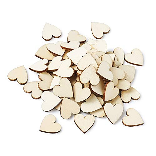 Kissitty 100Pcs Unfinished Wooden Heart Blank Wood Heart Cutout Discs 3/4
