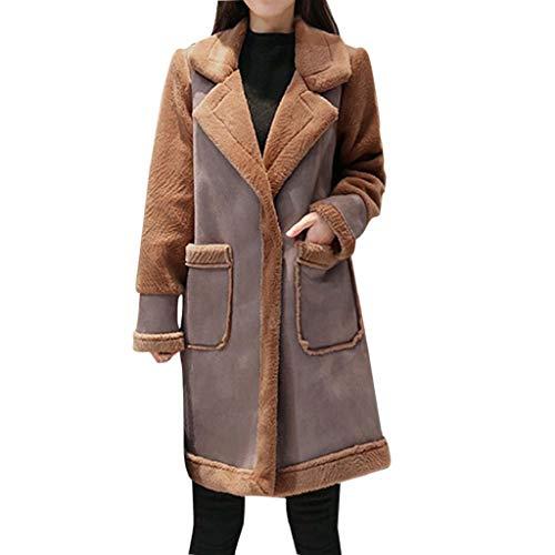 Lined Blazer Pinstripe (Creazrise Women's Long Sleeve Draped Lapel Faux Fur Fleece Lined Open Front Solid Fall Winter Coat (Brown,XXL))