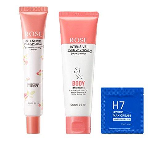 Ifactory Somebymi Rose Intensive Tone-Up Face (50ml) & Body (80ml) Whitening Cream 2 Pcs Set & H7 Hydro-Max Cream Sample (1.2g)