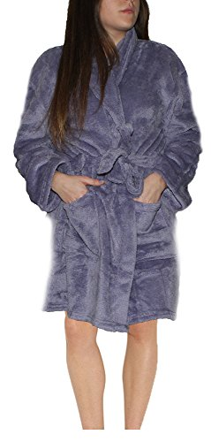 ADRIENNE VITTADINI Women's Soft Comfy Textured Plush Sherpa House Bath Robe with Side Patch Pockets | Gift Box Set (Sherpa House)