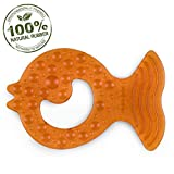 Pure Natural Rubber Baby Teether, Without Holes, One-Piece Hygienic Design Teether for Babies BPA Free, Covers All Teething Stages, All Natural, Textured for Sensory Play, Teething Toy for Molars