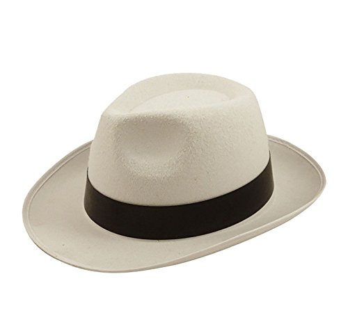 MA ONLINE Mens Al Capone White Hat With Black Ribbon Womens Gangster Costume Accessory