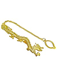 Men's Tie Bar Pinch Clip with Link Chain - 2.36 Inch For Regular Ties - Dragon - Gold Tone - Metal Alloy with Deluxe Gift Box