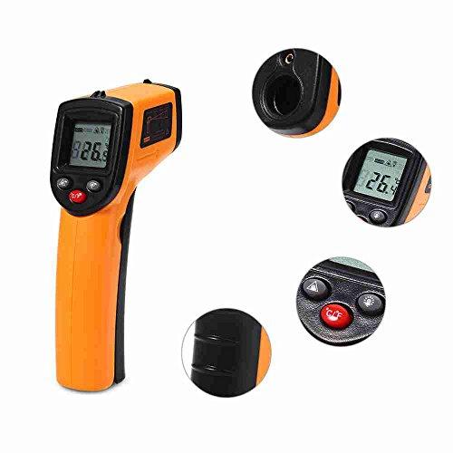 Mini LCD Non-contact IR Infrared Laser Thermometer Digital Pyrometer Diagnostic-tool Temperature Measuring Gun Measurement Tester Temp Point Range -50 to 380°Celsius Air Cooler Tester