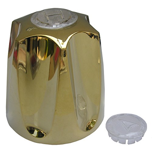 LASCO HC-107MBP Price Pfister Large Verve Metal Handle with Hot and Cold Diverter Index Buttons, Polished Brass by LASCO