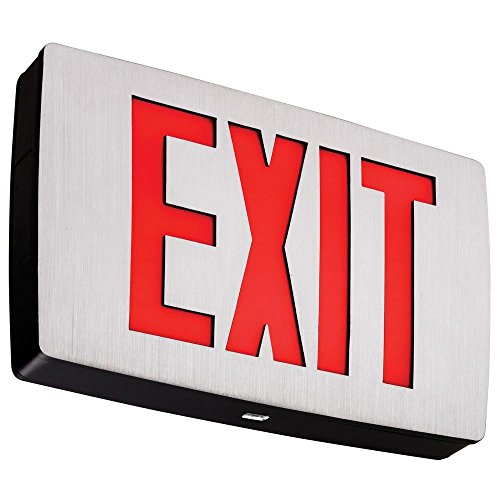 (Lithonia Lighting LQC 1 R EL N LED Exit Sign Emergency with Red Letters, Black)
