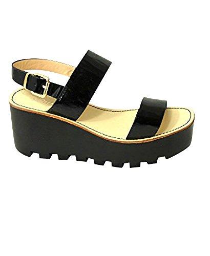 Sandalias de verano con suela de plataforma, sandalias cuñas con plataformas Black (4073-7)