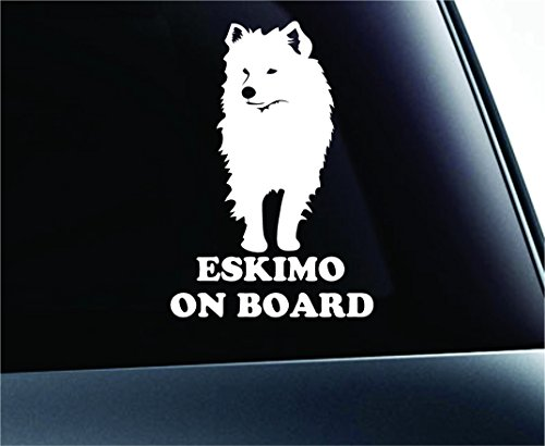 American Eskimo on Board Dog Symbol Decal Funny Car Truck Sticker Window (White) American Eskimo Dog Sticker