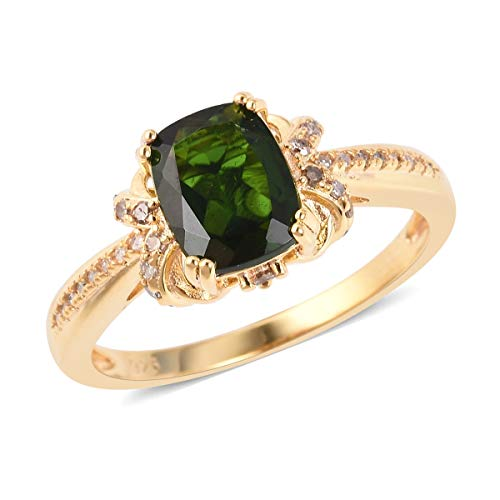 Chrome Diopside Diamond Ring 925 Sterling Silver Vermeil Yellow Gold Jewelry for Women Size 7 Ct 1.9